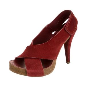 Pedro Garcia Libby Red Suede Leather Heels
